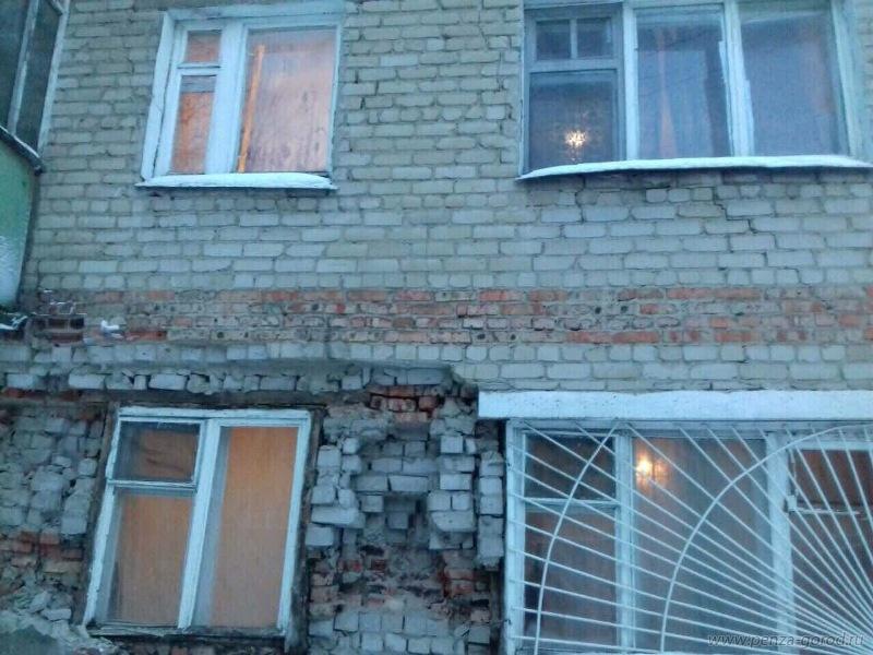 ВПензе стена общежития наулице Ударной обрушилась частично